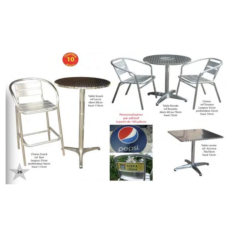 Tables et chaises pour snack